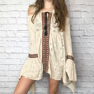 Free people cream knit bell sleeve boho tunic